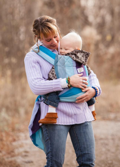 Earthy Bliss Heavenly Breeze Mei Tai Baby Carrier made from woven wraps